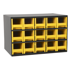 AKR19715YEL - Akro-Mils15-Drawer Storage Hardware and Craft Organizer
