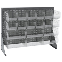 AKR30656GYASSTSC - Akro-MilsSingle-Sided Low Profile Louvered Floor Rack w/Clear Bins