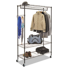 ALEGR364818BL - Wire Shelving Garment Rack, Coat Rack, Stand Alone Rack, Black Steel w/Casters