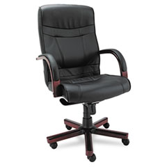 ALEMA41LS10M - Alera® Madaris Series High-Back Swivel/Tilt Leather Chair with Wood Trim