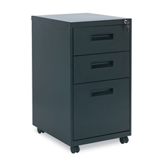 ALEPABBFBL - Three-Drawer Metal Pedestal File, 14 7/8w x 19-1/8d x 27-3/4h, Black