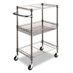 ALESW342416BA - Alera® Wire Shelving Three-Tier Rolling Cart
