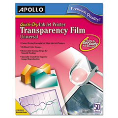 APOCG7033S - Apollo® Universal Quick-Dry Inkjet Printer Transparency Film