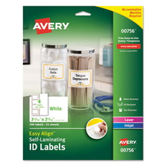 AVE00756 - Avery® Easy Align™ Self-Laminating ID Labels