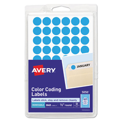 AVE05050 - Avery® Removable Self-Adhesive Round Color-Coding Labels