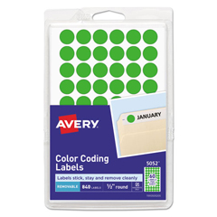 AVE05052 - Avery® Removable Self-Adhesive Round Color-Coding Labels