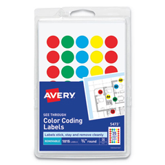 AVE05473 - Avery® Round Assorted Removable See-Through Color Dots