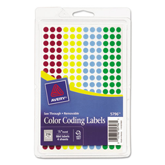 AVE05796 - Avery® Round Assorted Removable See-Through Color Dots