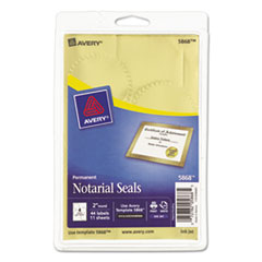 AVE05868 - Avery® Print or Write Gold Foil Notarial Seals