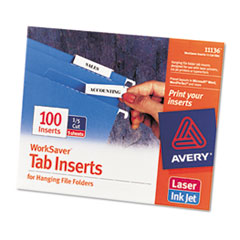 AVE11136 - Avery® Laser/Inkjet Inserts For Hanging File Folders