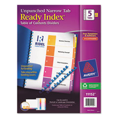 AVE11152 - Avery® Ready Index® Table of Contents Unpunched Dividers with Narrow Tabs