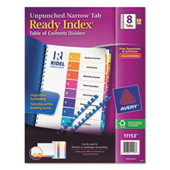 AVE11153 - Avery® Ready Index® Table of Contents Unpunched Dividers with Narrow Tabs