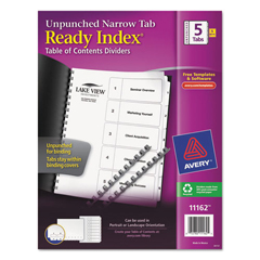 AVE11162 - Avery® Ready Index® Customizable Table of Contents Unpunched Dividers with Narrow Tabs