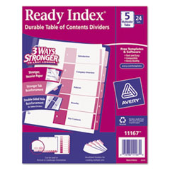 AVE11167 - Avery® Ready Index® Contemporary Multicolor Table of Contents Divider Sets Uncollated in Bulk Packs