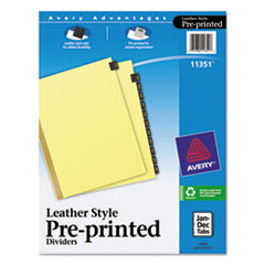 AVE11351 - Avery® Black Leather Pre-Printed Dividers