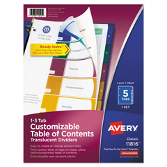 AVE11816 - Avery® Ready Index® Translucent Multicolor Table of Contents Dividers