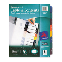 AVE11817 - Avery® Ready Index® Translucent Multicolor Table of Contents Dividers