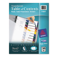 AVE11818 - Avery® Ready Index® Translucent Multicolor Table of Contents Dividers