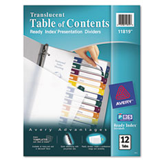 AVE11819 - Avery® Ready Index® Translucent Multicolor Table of Contents Dividers