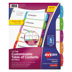 AVE11840 - Avery® Ready Index® Customizable Table of Contents Multicolor Dividers