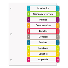 AVE11842 - Avery® Ready Index® Customizable Table of Contents Multicolor Dividers