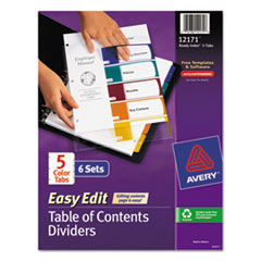 AVE12171 - Avery® Ready Index® Easy Edit Multicolor Table of Contents Dividers