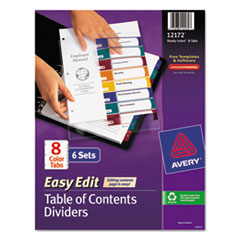 AVE12172 - Avery® Ready Index® Easy Edit Multicolor Table of Contents Dividers