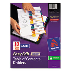 AVE12173 - Avery® Ready Index® Easy Edit Multicolor Table of Contents Dividers