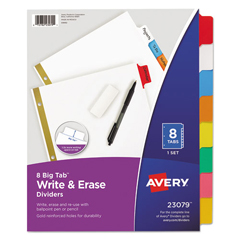 AVE23079 - Avery® Big Tab™ Write-On Dividers with Erasable Laminated Tabs