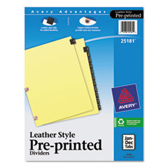 AVE25181 - Avery® Copper Reinforced Preprinted Black Leather Tab Dividers
