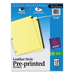 AVE25187 - Avery® Copper Reinforced Preprinted Black Leather Tab Dividers