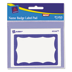AVE45144 - Avery® Blue Border Removable Adhesive Name Badge Label Pad