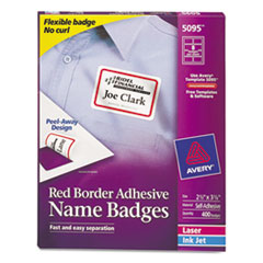 AVE5095 - Avery® Red Border Removable Adhesive Name Badges