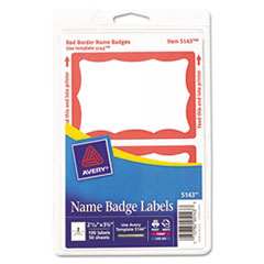 AVE5143 - Avery® Red Border Removable Adhesive Print or Write Name Badge Labels