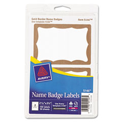 AVE5146 - Avery® Gold Border Removable Adhesive Print or Write Name Badge Labels