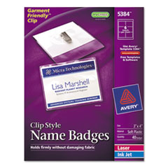 AVE5384 - Avery® Garment Friendly™ Clip Style Name Badges