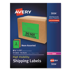AVE5934 - Avery® Neon Shipping Label