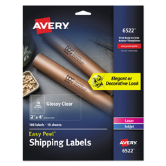 AVE6522 - Avery® Glossy Clear Easy Peel® Mailing Labels with Sure Feed™ Technology