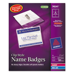 AVE74541 - Avery® Garment Friendly™ Clip Style Name Badges
