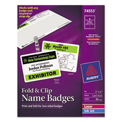 AVE74553 - Avery® Fold & Clip Badges