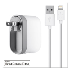 BLKF8J032TT04WH - Belkin® 2.1 Amp Swivel Charger with Lightning™ Cable