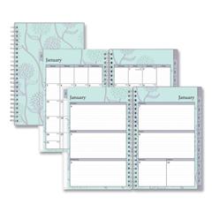 BLS101603 - Rue Du Flore Weekly/Monthly Wirebound Planner, 8 x 5, Green/Lavender, 2021