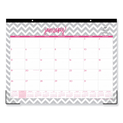 BLS102137 - Dabney Lee Ollie Desk Pad, 22 x 17, Gray/Pink, Clear Corners, 2020