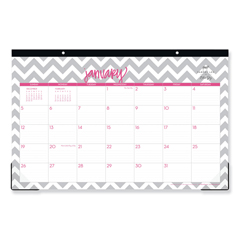 BLS102138 - Dabney Lee Ollie Desk Pad, 17 x 11, Gray/Pink, Clear Corners, 2021