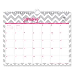 BLS102141 - Dabney Lee Ollie Wirebound Wall Calendar, Gray/Pink, 11 x 8.75, 2021