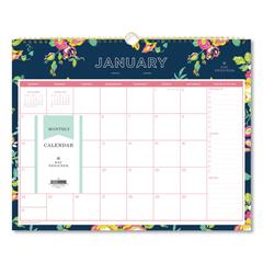 BLS103627 - Day Designer Wirebound Wall Calendar, 15 x 12, Navy Floral, 2019
