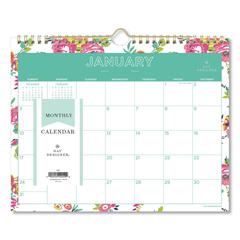 BLS103629 - Day Designer Wirebound Wall Calendar, 11 x 8 3/4, White Floral, 2020