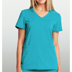 BRC8102-348-M - BarcoKD110™ Camy Hidden Pocket Short Sleeve Scrub Top