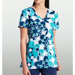BRC8104-GCS-XS - BarcoKD110™ Patterned V-Neck Short Sleeve Scrub Top