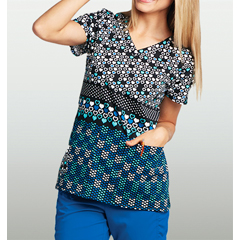 BRC8104-HRU-XS - BarcoKD110™ Patterned V-Neck Short Sleeve Scrub Top